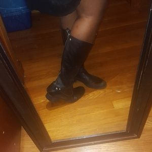 B.o.c brand black leather upper tall boots